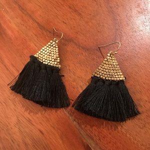 Evereve Black and Gold Tassle Earrings